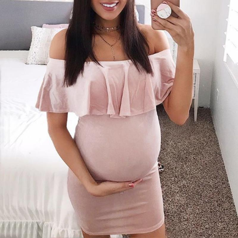 Fashion Womens Pregnants Off Shoulder Ruffles Solid Nursing Maternity Dress Holiday Photography Stylish August 13