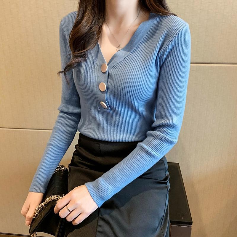 Baz gömlek ince uzun kollu iç V yaka kazak üst r10hH kazak Kadın 2020 Yaz yeni batı tarzı dar kesim Üst