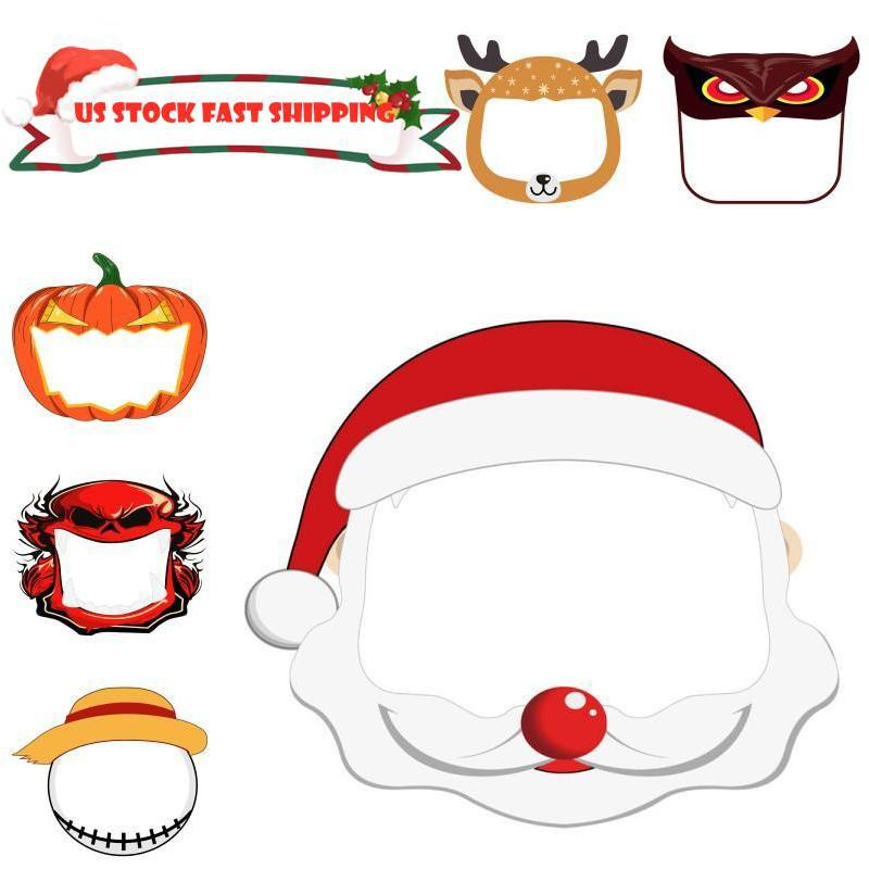 Christmas Face Shield Anime Kids Party Masks Clear Cartoon Mask Christmas Halloween New Year Cosplay Protective Masks Free DHL