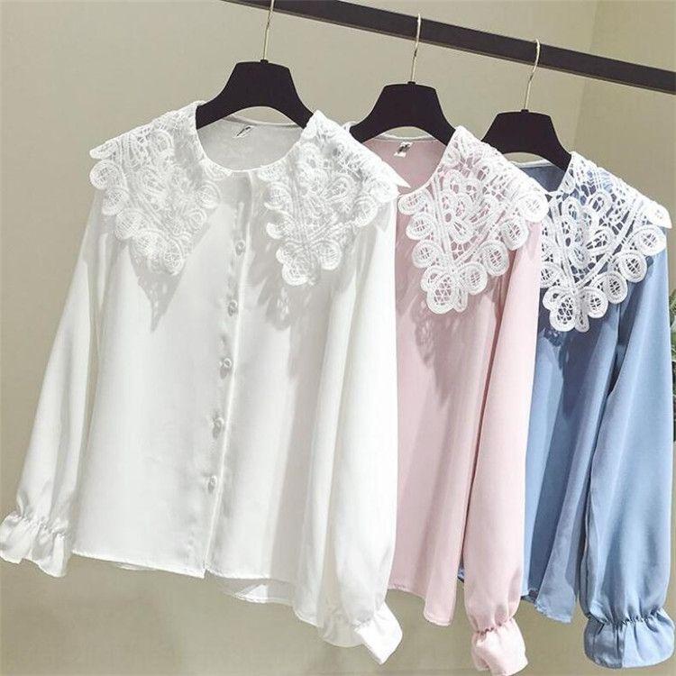 Sonbahar yaka abm7s bebek yeni yenilikçi dantel dikiş K4JDy uzun Kadın Kore tarzı Doll Kız Dantel Gömlek 'Sweet moda gömlek Fashio sleeve