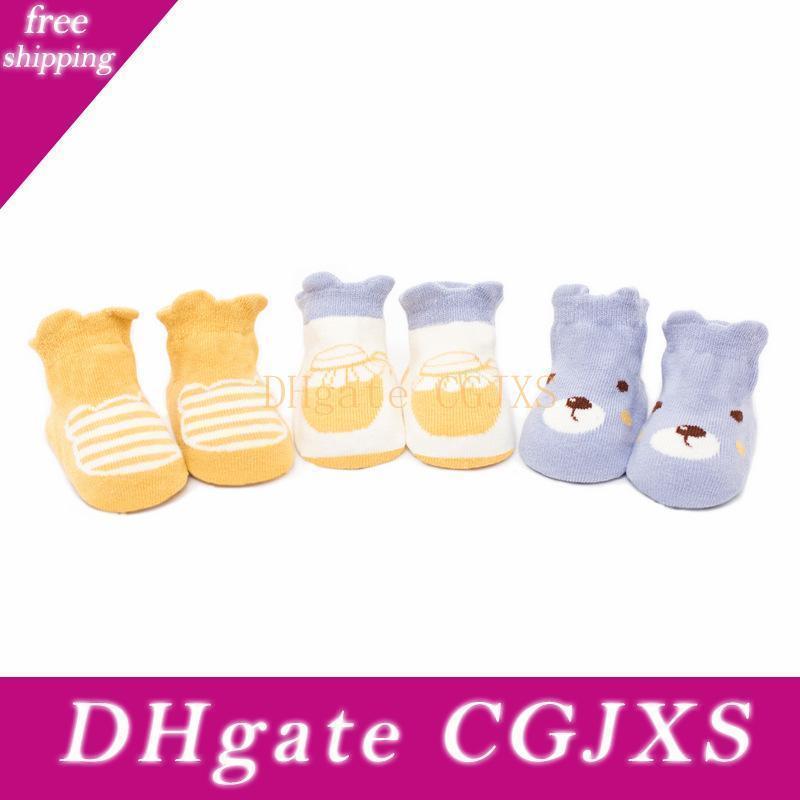 3 paires / Lot chaussettes bébé Cartoon animal mignon stéréo Kids Grip en vrac Toddle Garçons Filles Anti Slip Chaussettes Chaussettes sol rampants