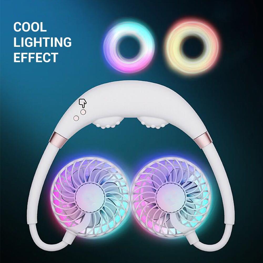 cgjxs ventiladores portátiles cuello mini ventilador recargable del refrigerador de aire acondicionado Ventilador de masaje con luz LED Para el hogar Oficina de Viajes