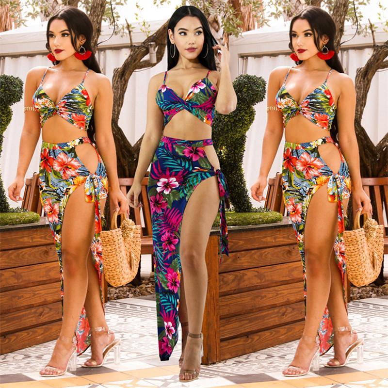 Las mujeres de impresión 2 vestidos pieza de ropa de playa faldas chaleco atractivo del club de la ropa de verano elegante división superior de cultivos chándal trajes de espaguetis correa de 0085