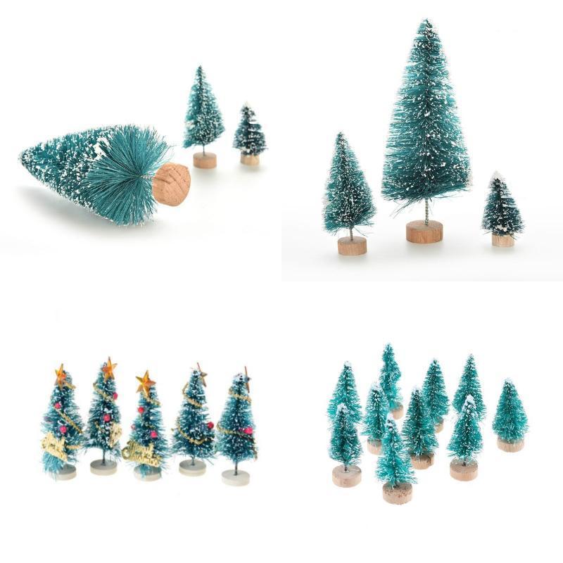 1-10pcs / lot piccola fai da te albero di Natale falso Pino Mini Sisal Bottiglia pennello Babbo Natale, Neve, Brina Village House