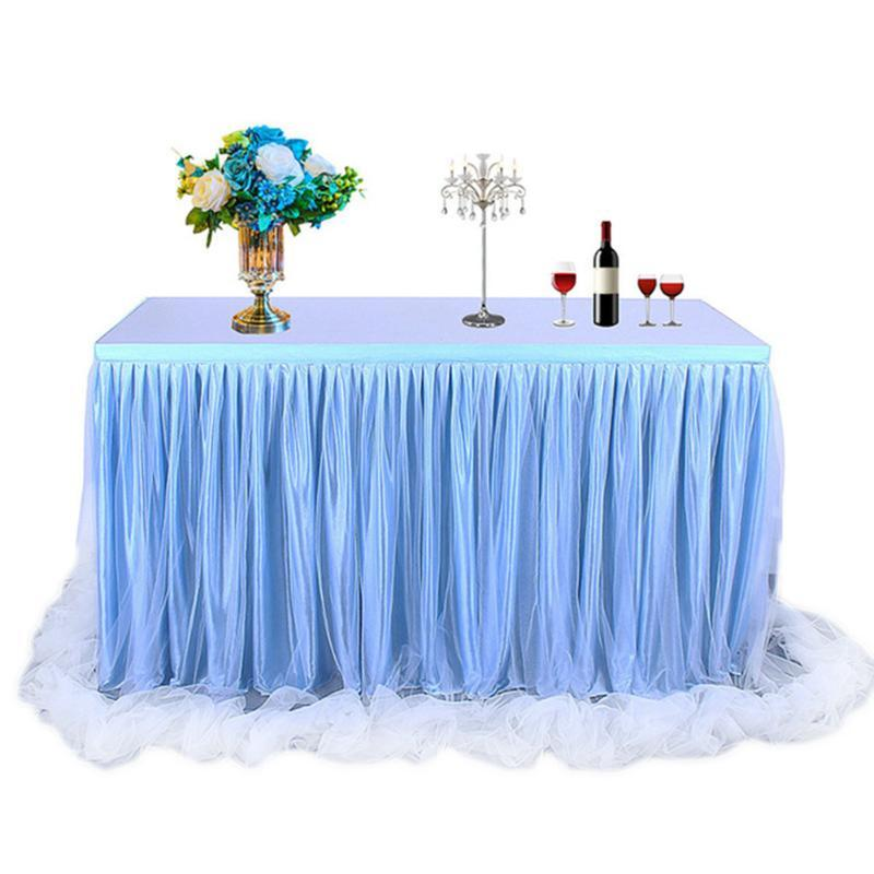Handmade Tulle Table Skirt Tableware Cloth for Party Wedding Banquet Home Decoration Wedding Romantic Table Skirting LBS