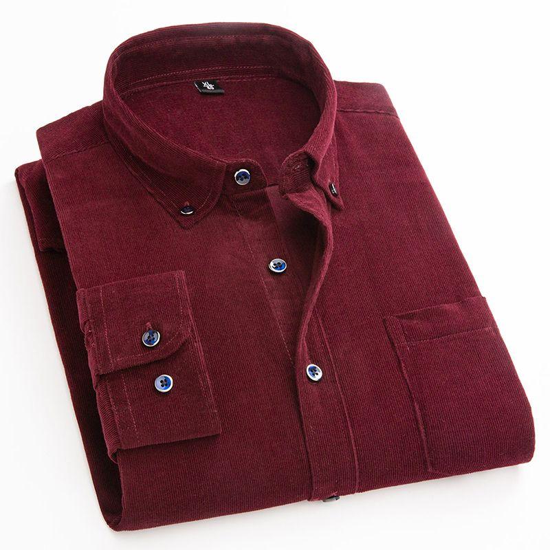 Pamuk Kadife Gömlek erkekler uzun kollu düğme yaka kalite sıcak kolay düzenli uyum basit iş mens casual gömlekler 200.925 bakımı