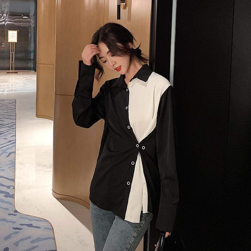 m5hbU 2020 Frühling Hong Kong Stil Lichtdesign westlichen und Frauen schwarzes T-Shirt Top Shirt weißen Nähten in Kontrastfarbe lange Ärmel Artoberseite