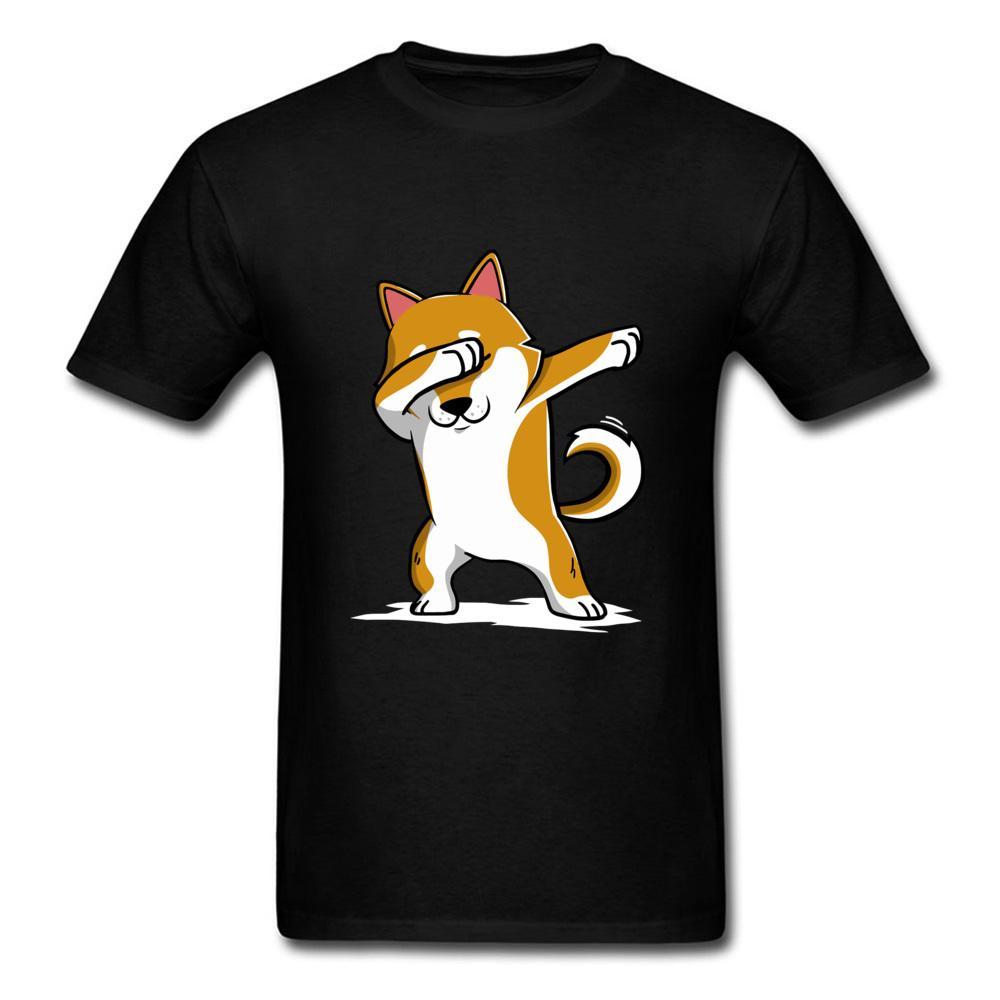 Techno Abtupfen Shiba Inu Hundetanz-T-Shirt Hip Hop Rock-Musik DJ Kleine Corgi-Terrier Plain T-Shirt Berner Sennenhund Drucken Mann