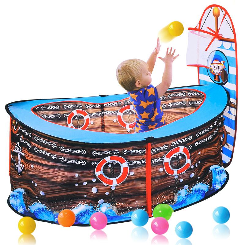 Baby Pirate Ship Tent Kids Ball Pits Portable Pool Foldable Play House Infant Pool Balls With Basket Outdoor Toy For Children LJ200923