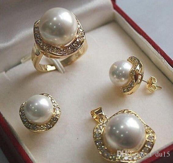 Prett Belle femme anneaux de mariage shippingwhite shell collier de cristal gp pendentif perle bijoux ensembles argent bijoux