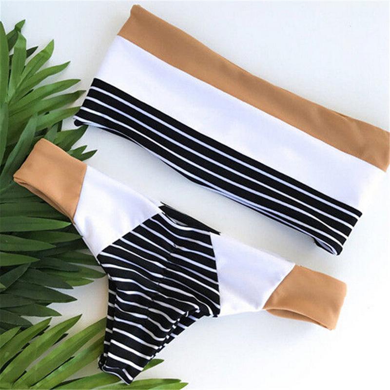 Traje Hirigin mujeres atractivas sin tirantes palabra de honor a rayas costura Bikini de push-up vendaje del traje de baño del traje de baño de baño ropa de playa