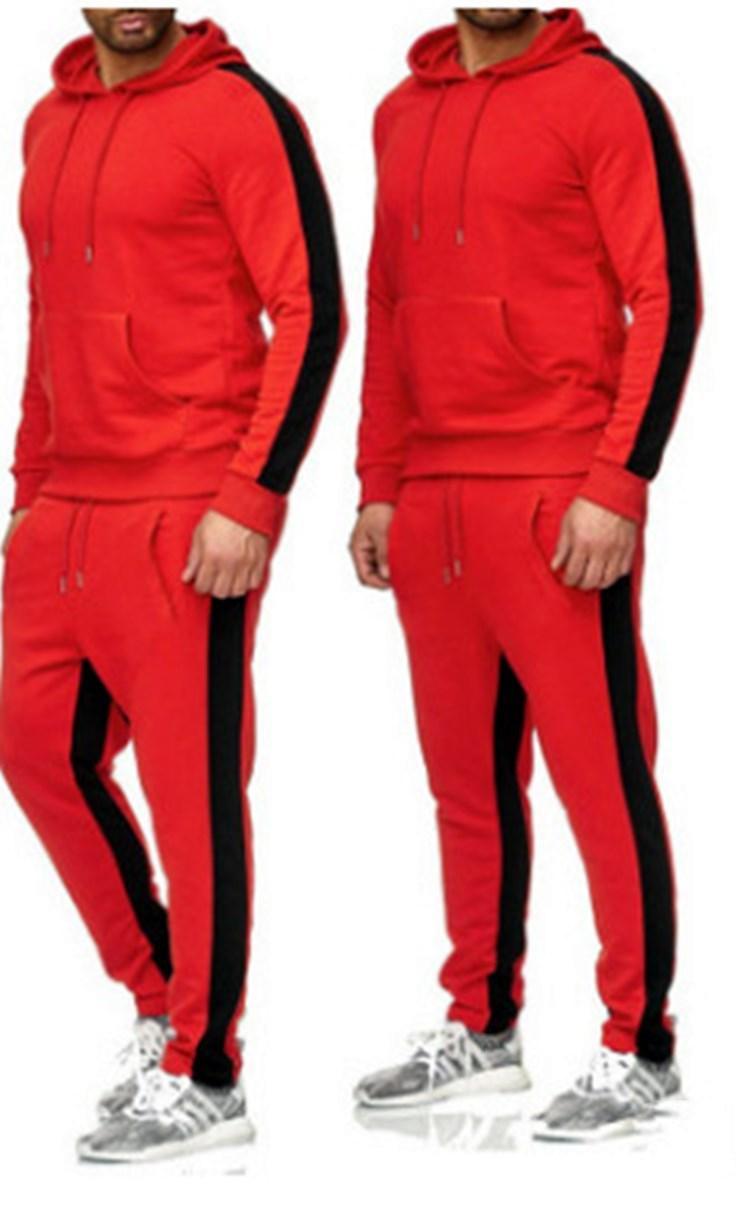 New Men treino Designer Fatos Outono Inverno Moda Roupa Set casaco de lã longa reta Calças sweatsuits