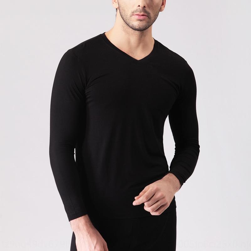 Bambusfasermänner Herbst Kleidung einziges Stück warme Basis modal lange warm T- Hülse T-Shirt niedriges Hemd