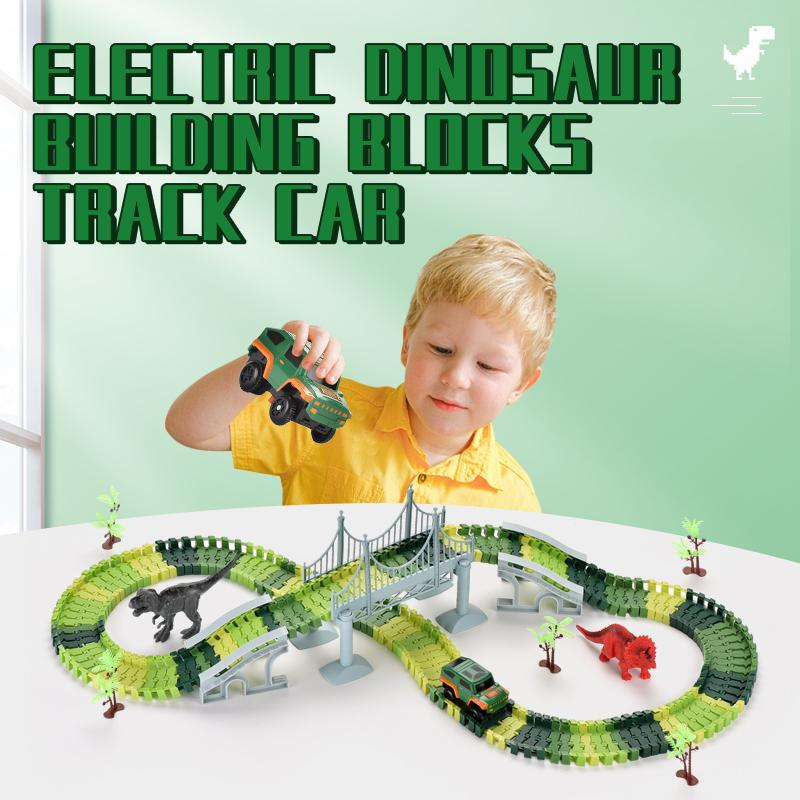 TW2006148 DIY Speed TW2006148 DIY dinosaur rail car 192PCS building blocks track car toy DIY build track