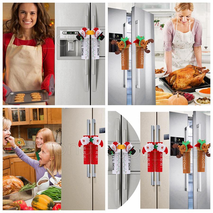 Natal Frigorífico pega da tampa Porta de Santa Snowman Luvas Frigorífico Forno Proteção Tampa Xmas Cozinha Decorações de Natal RRA3454