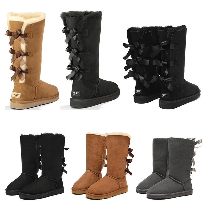 2021 Hotsale Womens 소녀 클래식 스노우 신발 무릎 부츠 3 활 모피 부츠 겨울 검은 gery 밤나무 여성 패션 야외 크기 5-10