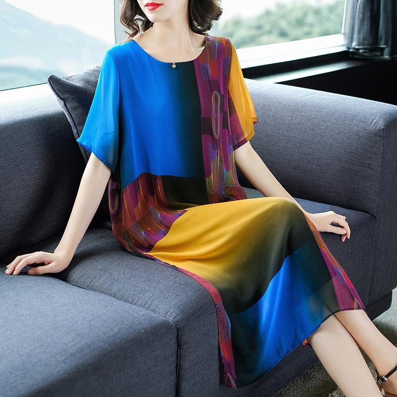 Xiangyun Fios de seda saia longa das mulheres formal para as mulheres de meia-idade e idosos 2019 verão nova mãe vestido longo vestido