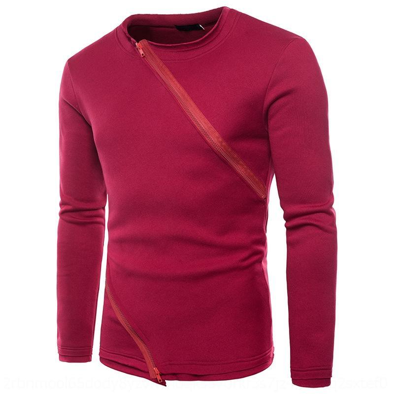 hLqVx pwkcJ WY51 suéter suéter de color sólido de la cremallera oblicua doble de la manera diseño de la cremallera suéter del suéter de los hombres de los hombres de cuello redondo