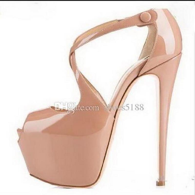 Heiße Verkäufe neuer Entwerfer-Marken-Absatz-Frauen Mode-rote untere Straps Pumpen Nude / Black Cross Absatz-Frauen-hochwertige Plattform-Schuhe EU 45