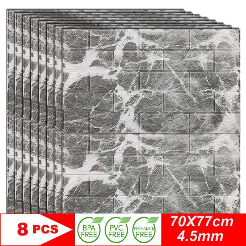 3D Stickers muraux imitation brique Chambre décor autoadhésives Papier peint Panneaux hydrofuges Salon Cuisine TV Décoration