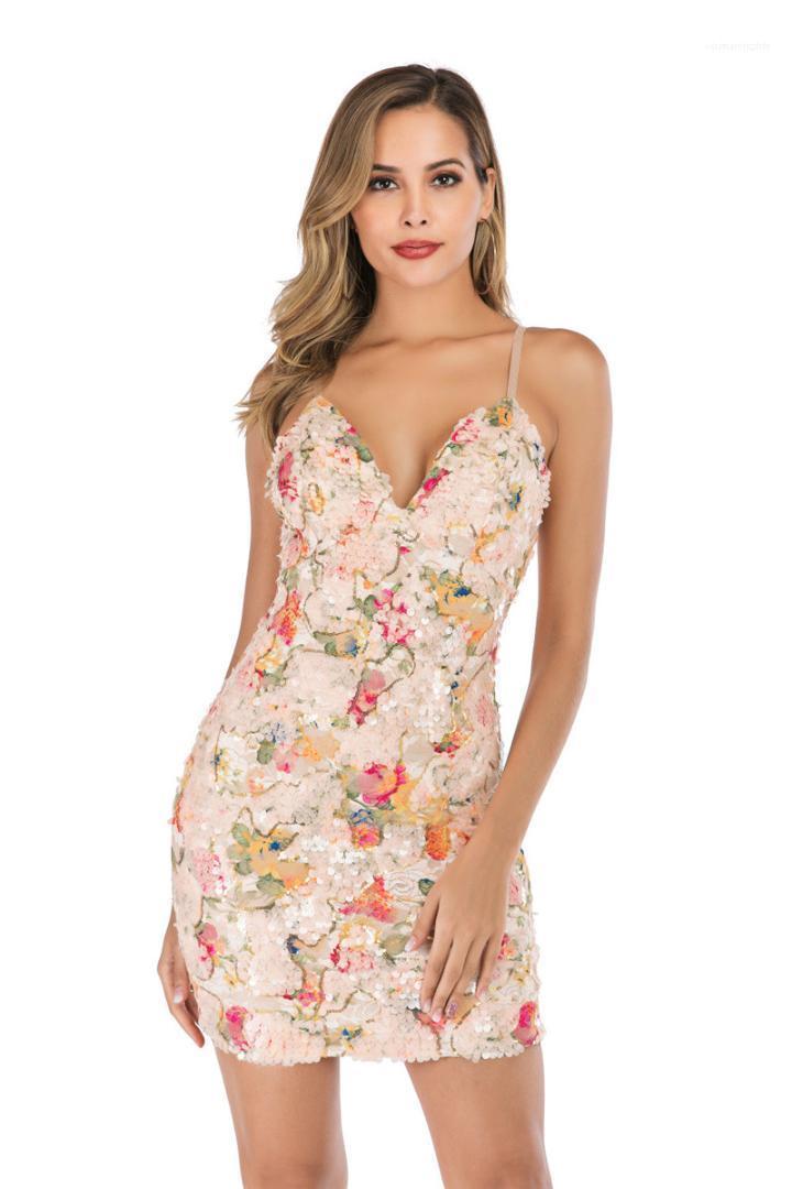 Aushöhlen Partei-Kleid Sexy Frauen Kleidung Sommer-Frauen Bodycon Kleider Spaghetti-Bügel mit Blumenmustern in Pailletten