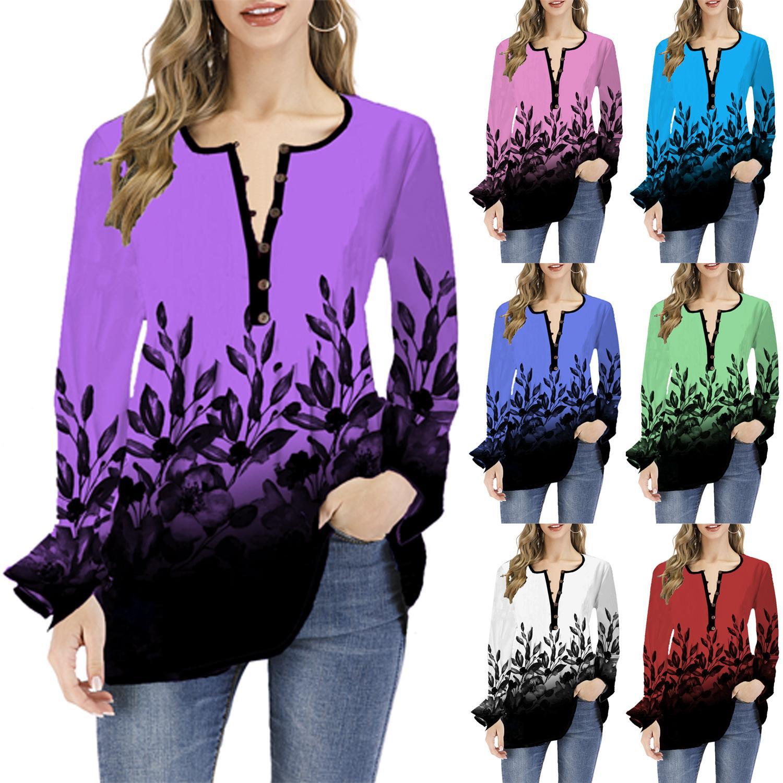 7 컬러 S-5XL 여자 탑 티 셔츠 뻗 V 넥 긴 소매 느슨한 T 셔츠 튜닉은 헐렁한 꽃 무늬 블라우스 62224679358675 탑