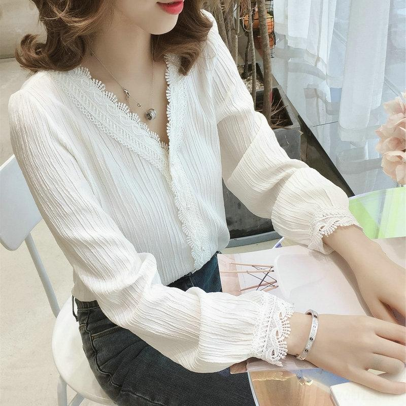 IgftH ePtrb femmes blanches de printemps pour nouveau style coréen dentelle col V 2020 chemise haut chemise chic pull loose à manches longues pull-over Top