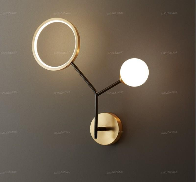 Modern wall lamp bedroom bedside aisle corridor living room lamps copper tree branch villa apartment stair wall sconce light