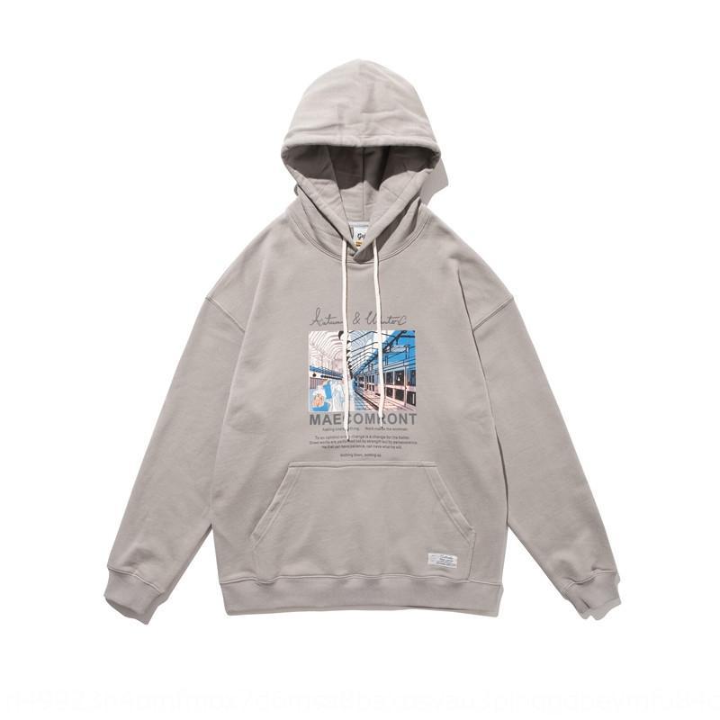 tfE4x улицы летнего платье 2020 осени с капюшоном пальто Южной моды бренд творческого пальто свитера мультфильм печать молодежь свитер для мужчин