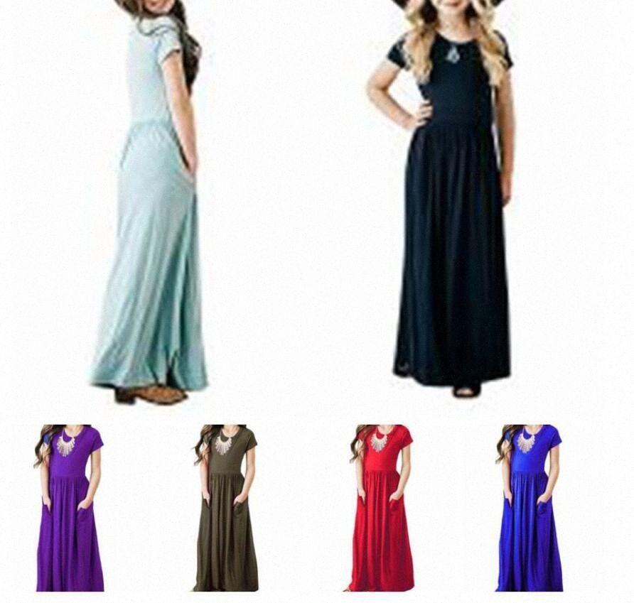 Kızlar Elbiseler Katı Maxi Kısa Kollu Tatil Bebek Salıncak Uzun Elbise Sahil Casual elbise Prenses Parti Abiye Cepler C58 LVfG # ile
