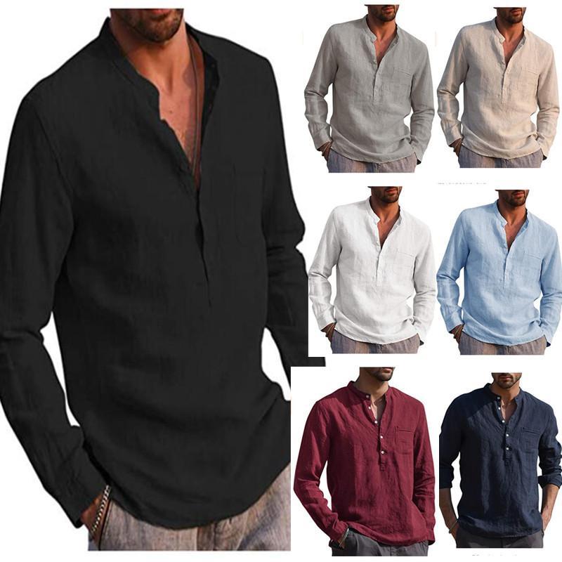 7 컬러 M-3XL 남성 코튼 리넨 긴 소매 T 셔츠 V 목 느슨한 휴일 요가 블라우스 62273597069701 티 탑