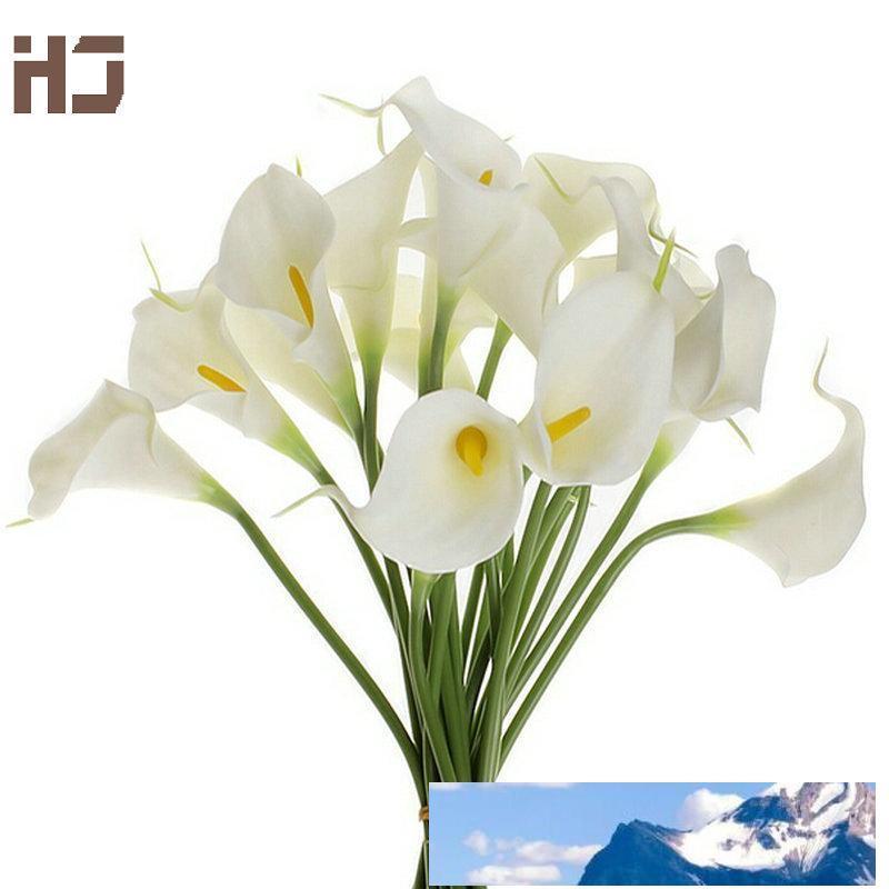 20pcs / lot Calla Lily Yapay Çiçek PU Gerçek Dokunmatik Ev Dekorasyon Çiçekler Gelin Buketi Dekoratif Çiçek XZ014