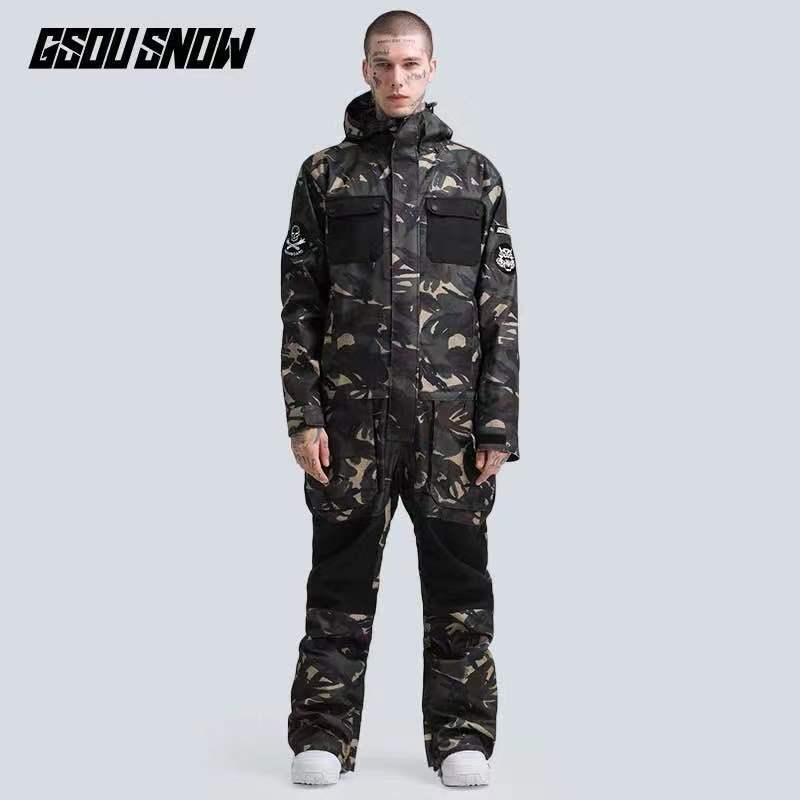 GSOU One Piece Men Ski Suit Women Skiing Suit Snowboard Hooded Windproof Waterproof Winter Clothing Outdoor Sport Wear New