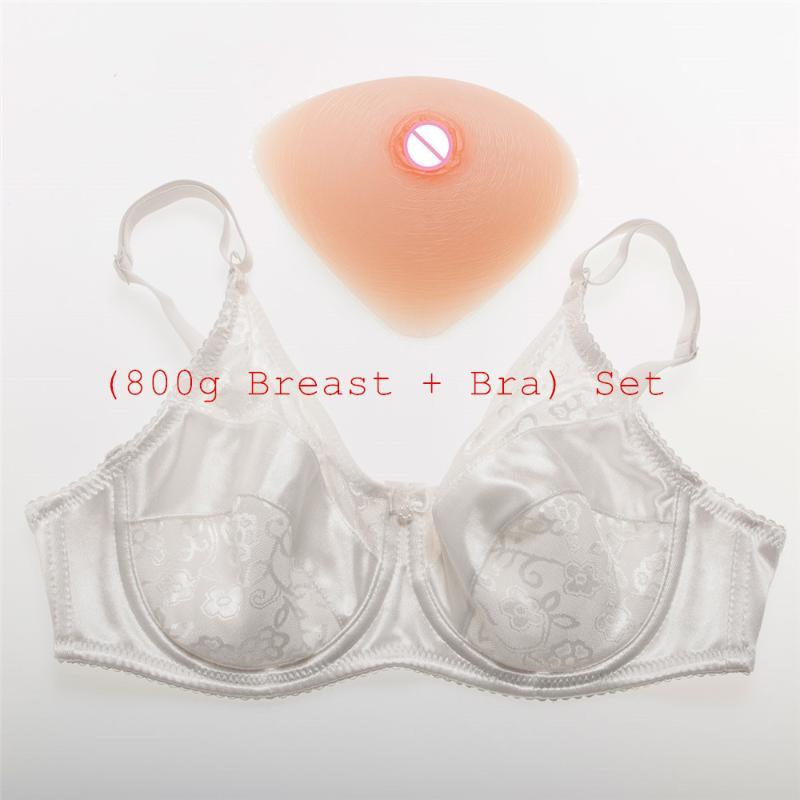 800g/pair Classic Triangle Crossdresser Silicone Boobs + Sexy Lace and Satin Pocket Crossdresser Bra Best Price