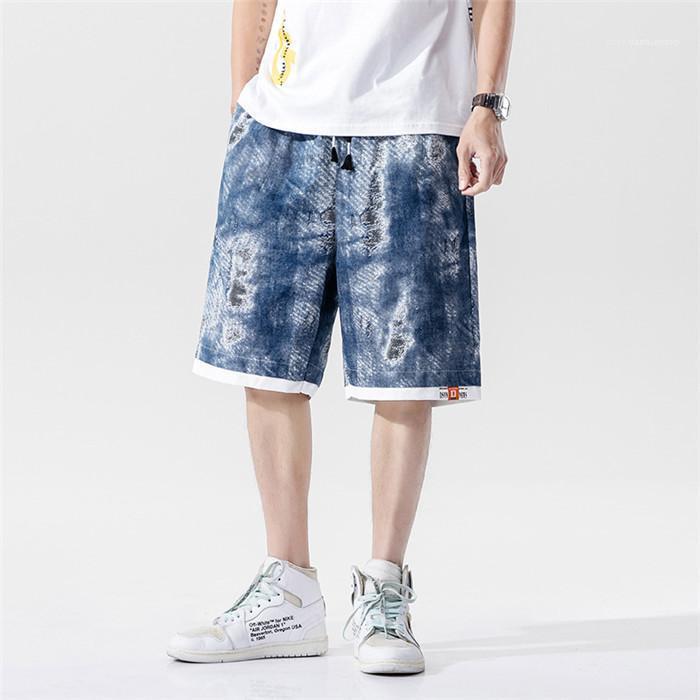 Lace Up Shorts Homme Skateboard bicchierini di stile Mens camuffamento Cargo Shorts Estate allentato metà di vita