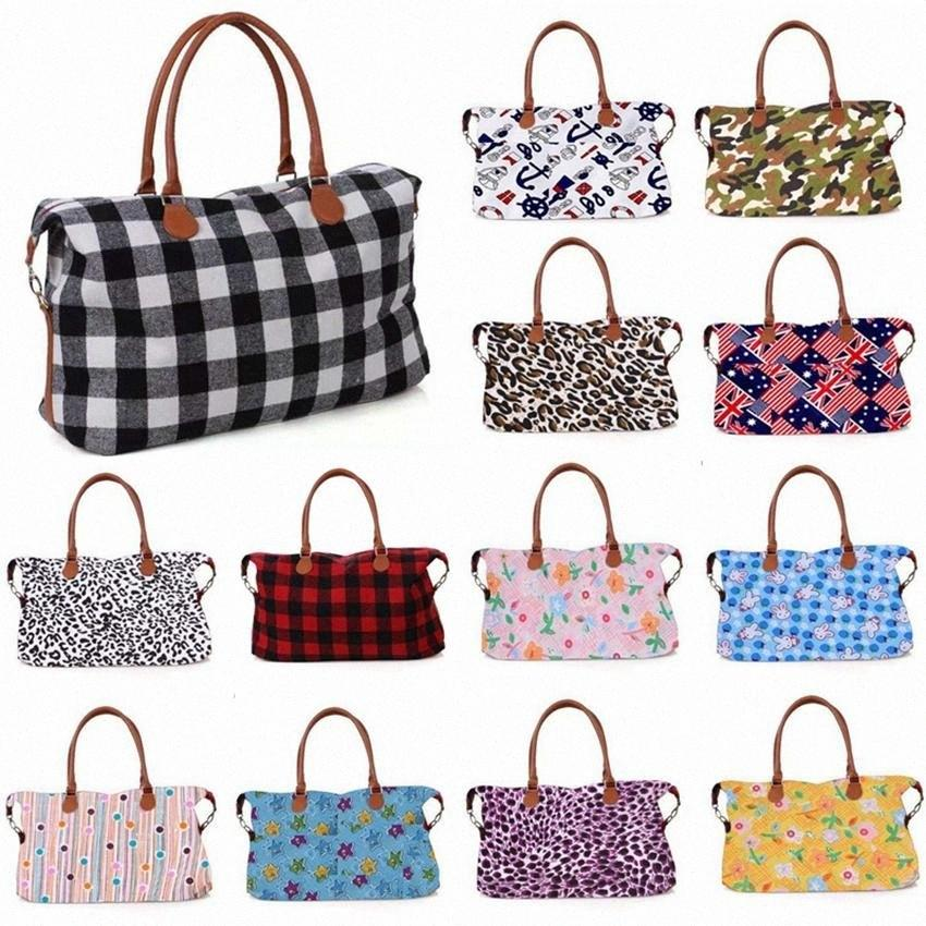 32style Buffalo Plaid Handbag Leopard Camouflage Large Capacity Travel Tote Printting Luggage Bag Fashion Maternity Bag HHA1406 voJH#