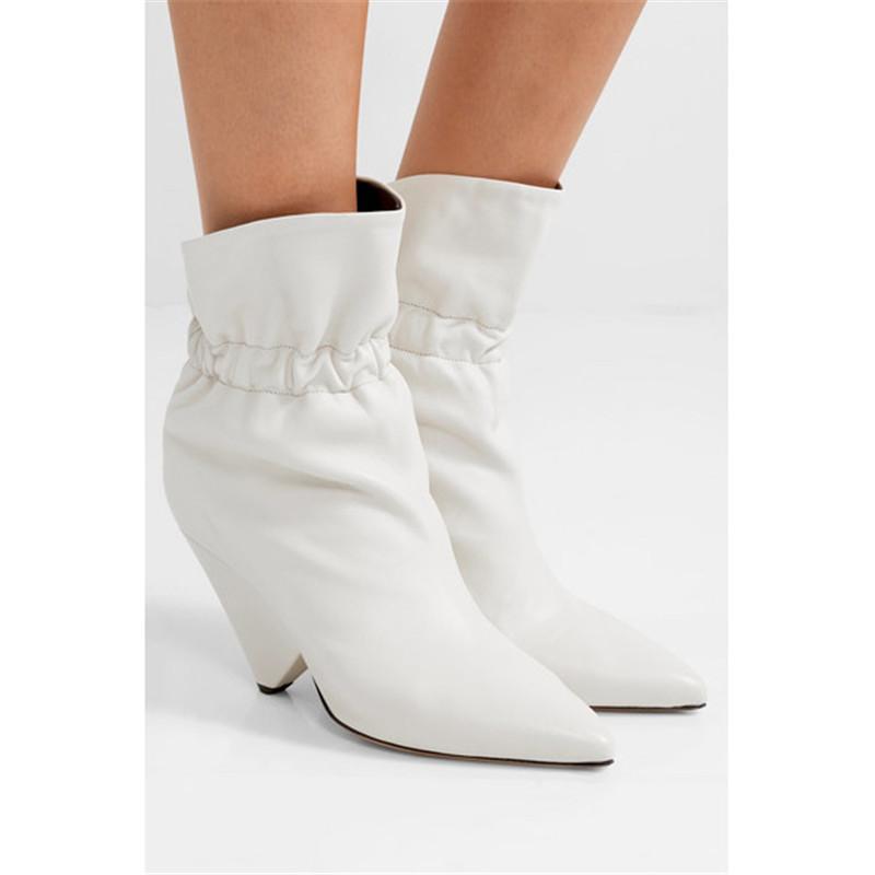 2020 Designer Winter White Ankle Boots