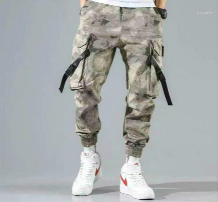 Мода карманные Лоскутная Drawstring штаны Фитнес Mens Ins Стиль Брюки Hip Pop Одежда Mens Cargo Pants