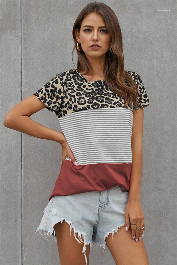 Femme T-shirts Leopard rayé Femmes T-shirts d'été à manches courtes en vrac Ladies Designer Tops Contraste Casual Couleur