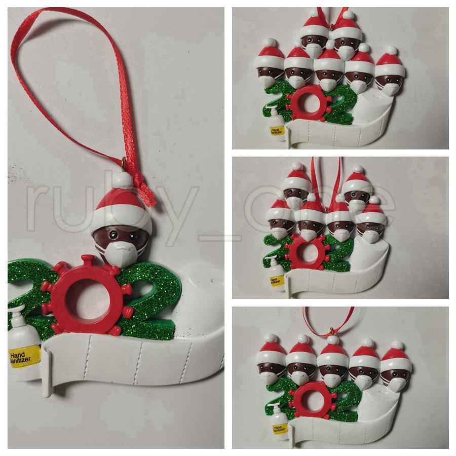 Christmas Tree Hanging Ornament 2020 Family Of 1 2 3 4 5 6 7 Santa Claus Pendant Ornament Social Distancin Xmas Party Decorations RRA3540