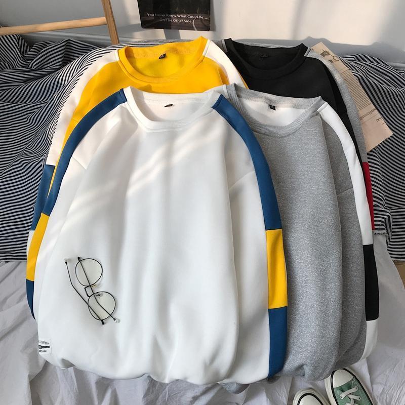 Mode-Männer Hoodies Hip Hop Herbst Männer Patchwork-Sweatshirt mit Kapuze Anzug Male Streetshirt-Marken-Kleidung Weiß Schwarz