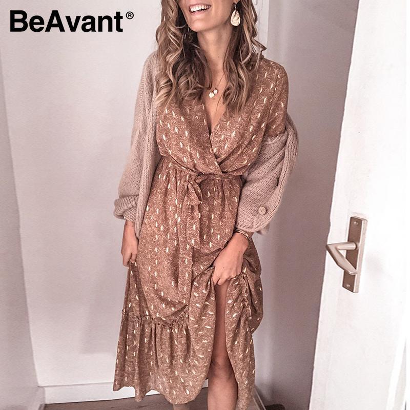 BeAvant manga comprida impressa Mulheres Primavera Verão v-pescoço Ruffle Vestidos Elegante Casual Feminino cintura alta vestido Praia