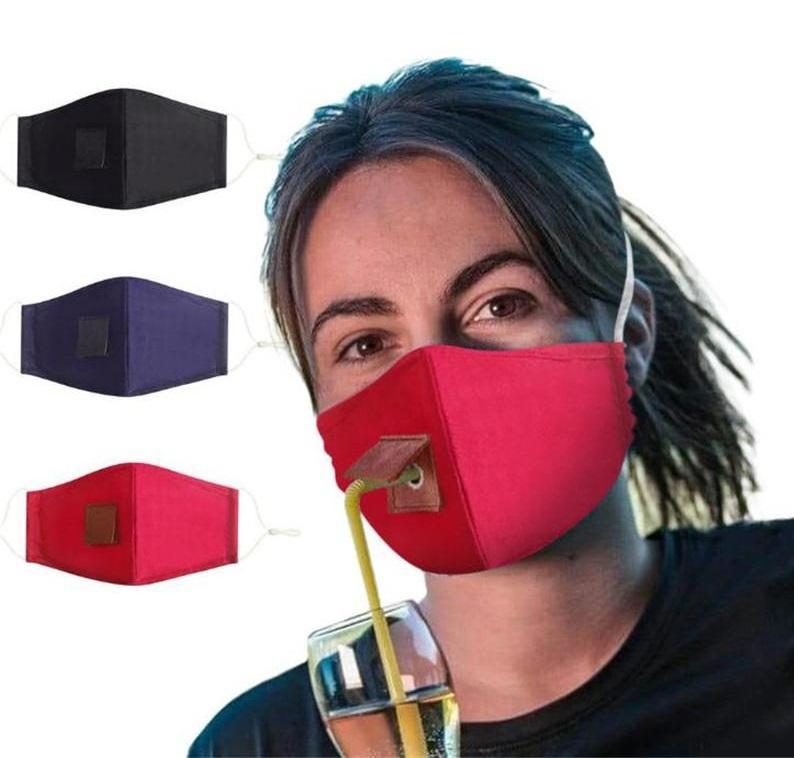 Adult Protect Cotton Gesichtsmaske Trinken Maske mit Loch für Stroh waschbaren Staubdichtes Trinken im Freien Mund Masken DA603