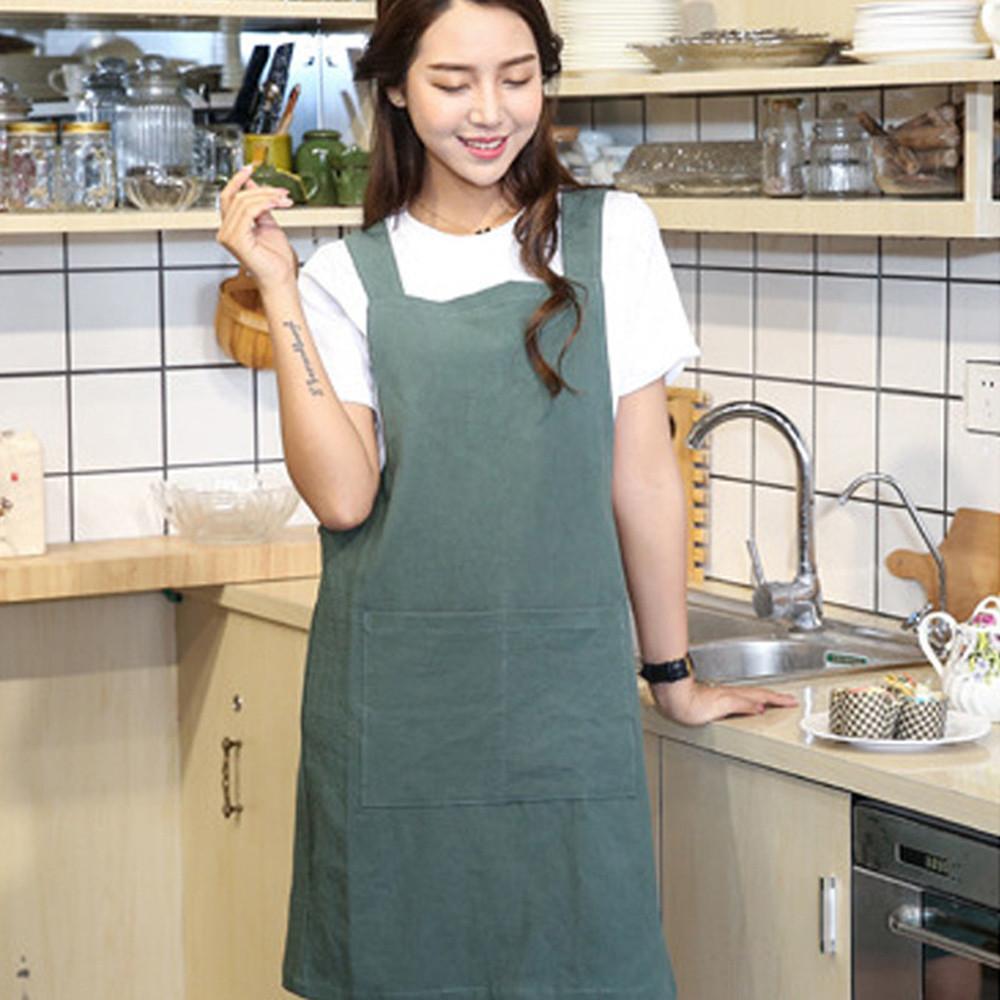 Cozinha que cozinha o avental aventais Mulheres Algodão Linho Cruz Voltar avental estilo japonês Trabalho Doméstico cozinha Enrole Pinafore com bolso Y200103