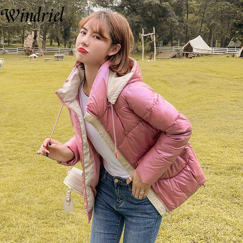 Kar Giyim Su geçirmez Kadın Ceket Kış Coat Kadınlar Parlak Sıcak Parkas Kapşonlu Fermuar Moda Yastıklı Giyim Windriel