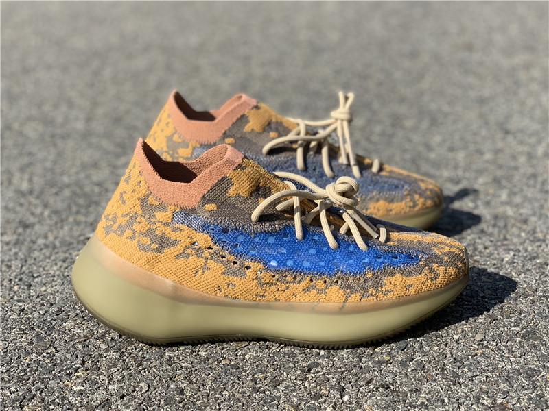Новый выпуск Kanye West 380 Blue Oat Alien Mist 3M Светоотражающие мужчины Женщины Кроссовки Глиняная Белуга Тройная черная белая спортивная обувь