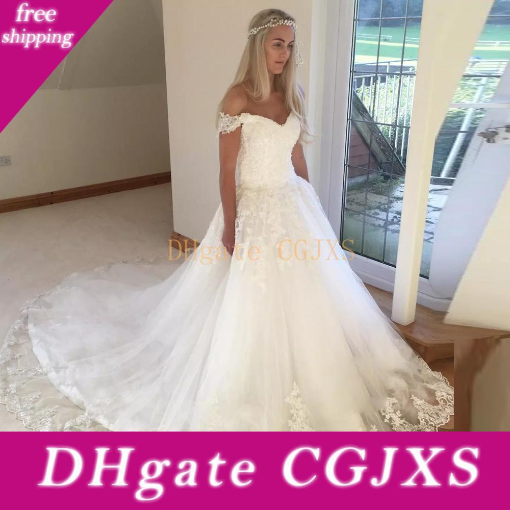 2019 Árabe Plus Size Wedding Vestidos Alças Manga Princess V Neck apliques Lace Up Corset País Vestidos de noiva Vestidos Custom Made