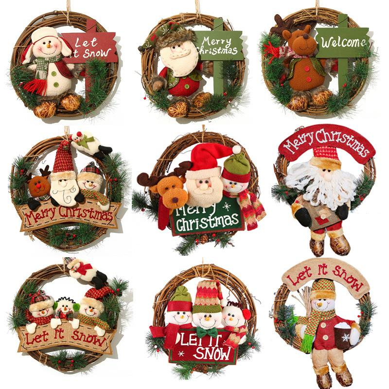 Рождественский венок 33см Xmas Rattan двери платяной рождественские подарки Vine кольцо стены цветок Гирлянда Снежный человек Санта украшения LL113