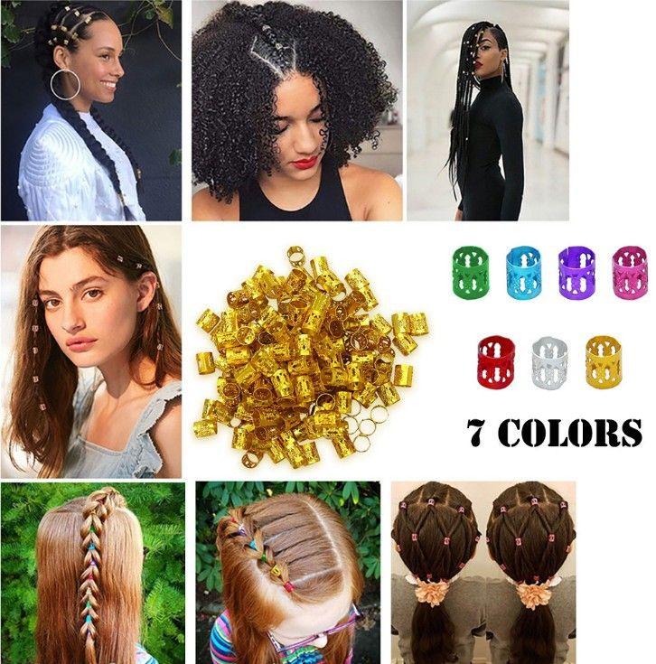 100Pcs / set di 6 colori misti Beads regolabili treccia dei capelli della Cuff Perline Dreadlock regolabili della treccia dei capelli Anelli Gemelli Clips Tubi accessori dei monili