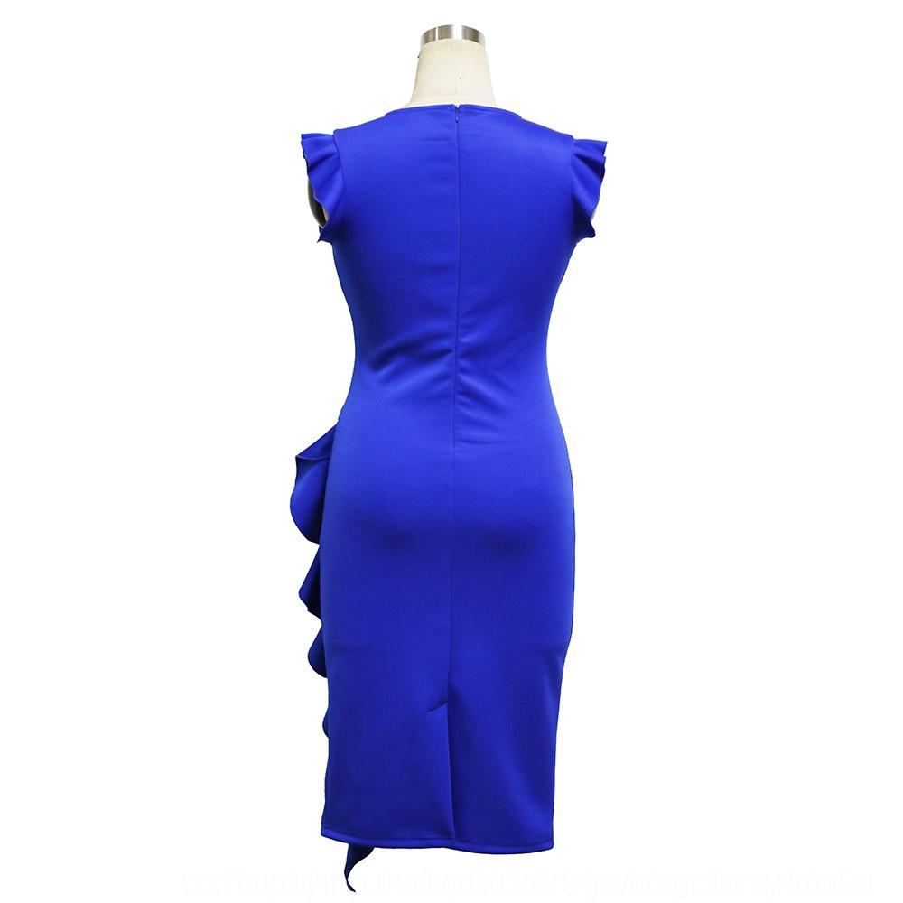 round cuerno cuello pxa4C fT3tR barato barato vestido de fiesta de manga corta r 1617 de dresswomen formales formales de dresswomen de volantes hip-cubierto